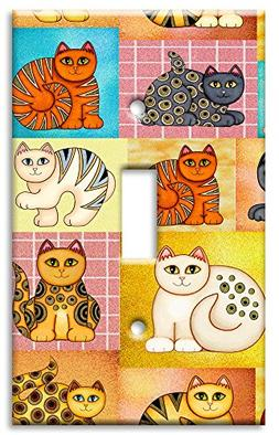 Art Plates - Cat Collage Switch Plate - Single Toggle
