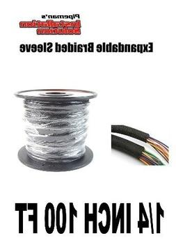 BLACK 1/4 100FT BRAIDED EXPANDABLE FLEX SLEEVE WIRING HARNES