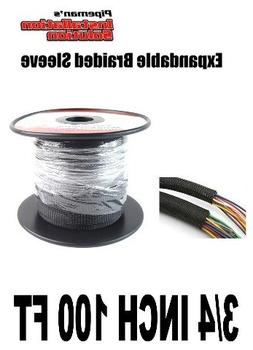BLACK 3/4 100FT BRAIDED EXPANDABLE FLEX SLEEVE WIRING HARNES