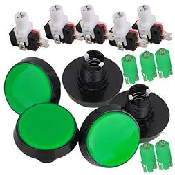 Green LED Light Lamp 60mm Dia Big Round Arcade Video Game Pl