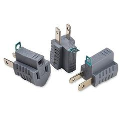 Cable Matters 3-Pack Polarized Grounding Adapter in Grey  -