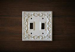 Double Light Switch Plate/Antique White or Pick Your Color/S