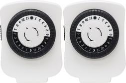 GE 24-Hour On/Off Plug-In Mechanical Timer with 1 Outlet, 2-