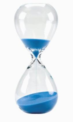 Bettea Large Hand-Blown Hourglass Measures One Hour, Blue