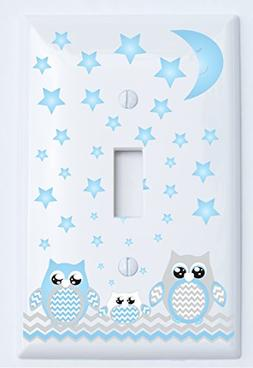 Grey and Blue Owl Light Switch Plate Covers Single Toggle/Ow