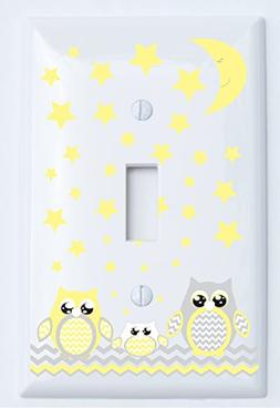 Grey and Yellow Owl Light Switch Plate Covers / Owl Nursery