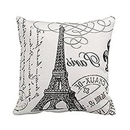 Paris Eiffel Tower Stamp Square Custom Throw Pillow Case, 18