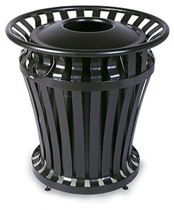 Rubbermaid Commercial WeatherGuard Steel Trash Can with Rigi