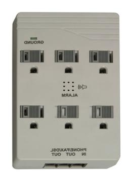 Woods 041153 6-Outlet Front Entry Surge Protector Wall Adapt