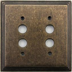 Classic Accents Deco Aged Antique Brass Two Gang Push Button