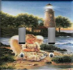 ANGEL WITH LIGHTHOUSE HOME WALL DECOR LIGHT SWITCH PLATES AN