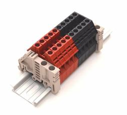 Dinkle Assembly DK4N Red/Black 10 Gang DIN Rail Terminal Blo