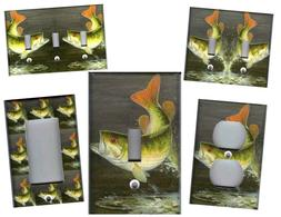 BASS FISH HOME WALL DECOR LIGHT SWITCH PLATES AND OUTLETS