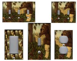 BATHROOM BEAR IN THE WOODS HOME DECOR LIGHT SWITCH PLATES AN