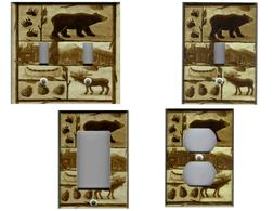 BEAR MOOSE CABIN RUSTIC BROWN HOME DECOR LIGHT SWITCH COVER