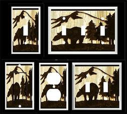 BEAR PINE TREE MOUNTAIN SILHOUETTE LIGHT SWITCH COVER PLATE
