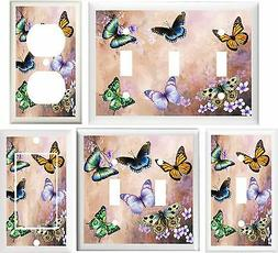 BEAUTIFUL BUTTERFLY FLORAL HOME DECOR LIGHT SWITCH PLATE COV
