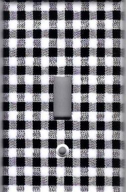 BLACK AND WHITE GINGHAM HOME WALL DECOR SINGLE LIGHT SWITCH