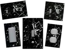 BLACK AND WHITE MARBLE IMAGE HOME DECOR LIGHT SWITCH PLATES