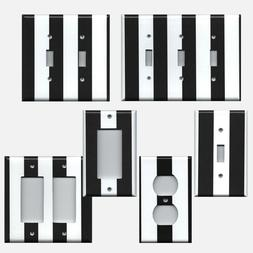 Black & White Wide Stripes Light Switch Plate Covers & Outle