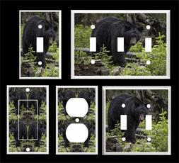 BLACK BEAR IN THE WOODS  # 3  LIGHT SWITCH COVER PLATE   PLA