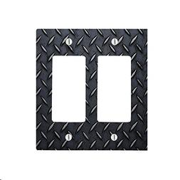 Black Diamond Plate Sheet Metal with Grooves 2 Gang Decorato