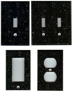 BLACK GRANITE IMAGE HOME DECOR LIGHT SWITCH PLATES AND OUTLE