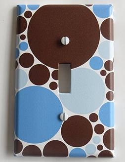 Blue and Brown Polka Dot Light Switch Plate Covers / Single