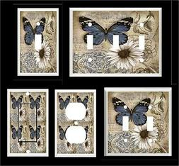 BLUE BUTTERFLY  DAISY #2  LIGHT SWITCH COVER PLATE OR OUTLET