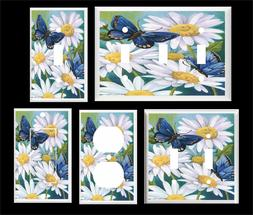 BLUE BUTTERFLY DAISY LIGHT SWITCH COVER PLATE YOU PICK  SIZE