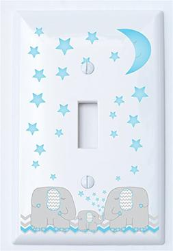 Blue Elephant Single Toggle Light Switch Plate Covers Two Pa