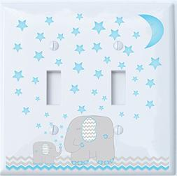 Blue Moon and Stars Elephant Light Switch Plate Double Toggl