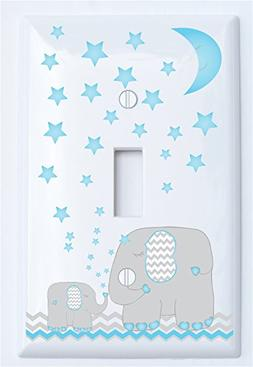 Blue Moon and Stars Elephant Light Switch Plate Cover with G