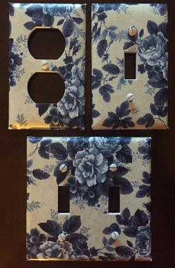 Blue Roses Light Switch Cover Plate Floral Wall Decor Outlet
