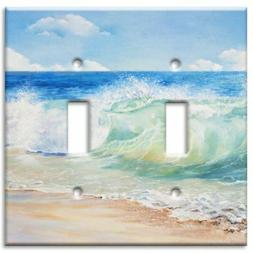 brand double toggle switch wall plate beach