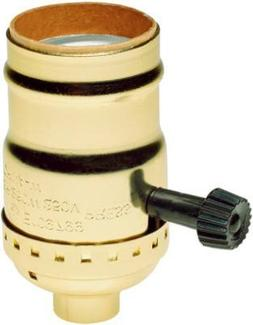 Brass Light Socket - Plated - 3-Terminal - 2 Circuit - Turn