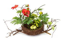 Pack of 6 Brown Twig Bird's Nest with Red Artificial Pansy F