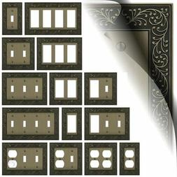 Brushed Brass Switch Plates English Garden Toggle Duplex Wal