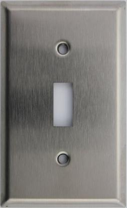 Brushed Satin Stainless Steel Single Gang Toggle Switch Wall