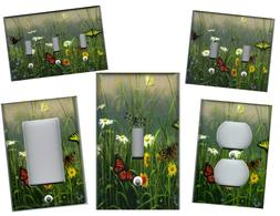 BUTTERFLIES AND DAISIES HOME DECOR LIGHT SWITCH PLATES AND O