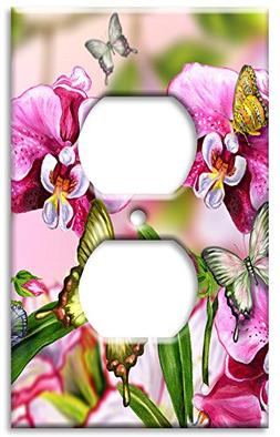 Art Plates - Green Butterfly Switch Plate - Outlet Cover