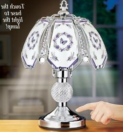 Butterfly Touch Lamp Silver Lavender 3 Way Home Lighting Tab