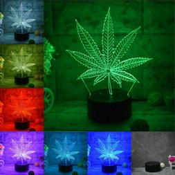 Cannabis leaf 3D LED Remote Touch Switch 7Color Home Decor N