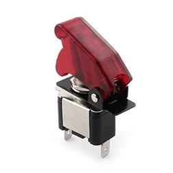 Car Auto Red LED Light Toggle Switch w Cover 12V 20A ON-OFF