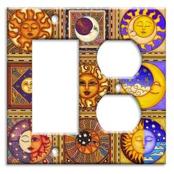 Celestials Theme Metal Wall Plate - Double Gang Combo - Outl