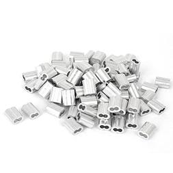 Silver Tone Chris-Wang 100Pcs 2mm Wire Rope Aluminum Sleeves Clip Fittings Cable Crimps Chris.W