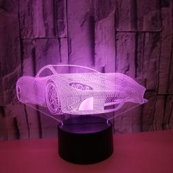 3D Car USB LED Switch Night Lights Home Decor Kid Bedroom De
