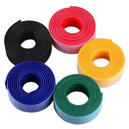 Whellen Colorful Cloth Cable Straps Hook and Loop Reusable F