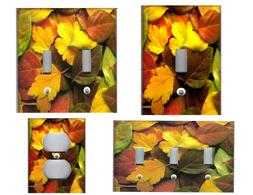 COLORFUL FALL AUTUMN LEAVES HOME WALL DECOR LIGHT SWITCH PLA