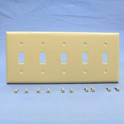 Cooper Ivory 5-Gang Toggle Light Switch Cover Thermoset Plas